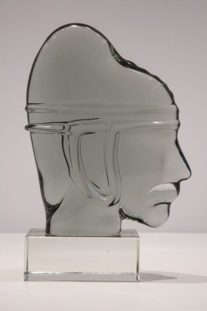 Heads in solid glass